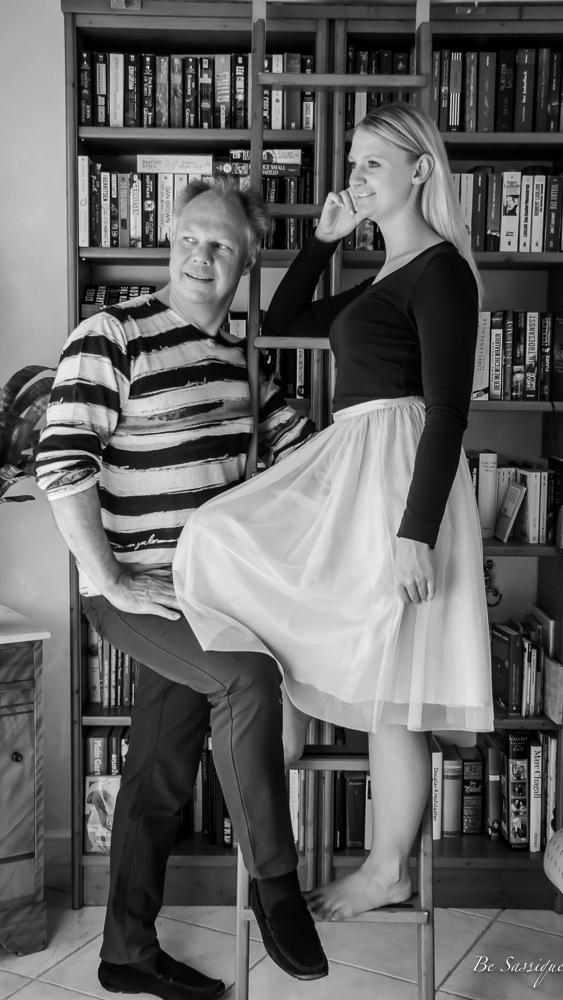 Papa Schwarz Weiß Tochter