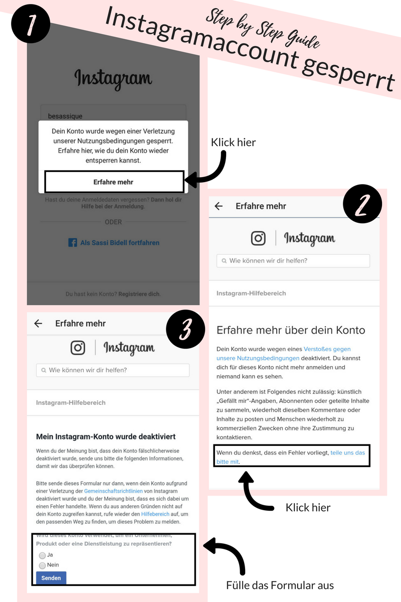 Alptraum Instagramaccount gesperrt - meine Geschichte und was man tun kann, wenn der Instagramaccount gesperrt wird. Klick für die Step by Step Anleitung. Warum dir der Instagramsupport bei einem Instagramhack nicht hilft und was du stattdessen tun kannst. Mehr auf www.besassique.com #Instagramhack #instagrambug #instagramaccountgesperrt #hilfe #instagramhilfe