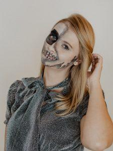 Halloween Schminken Deutsch.Half Skull Halloween Makup Tutorial Mit Drogerieprodukten Halloween